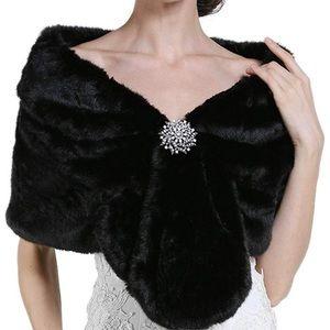 Black Faux-Fur wrap (broach not included)